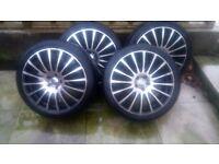 18 in Team Dynamic alloys wrapped in Falken tyres 225/40/18