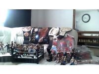wwe-wwf wresling figures, championship belts, 2 rings , much more