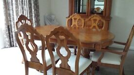 Dining Room Table and Chairs with matching Dresser. Solid wood. Italian style. Excellent condition.