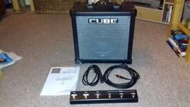 Roland Cube 80 GX Guitar amp with cover and foot switch .