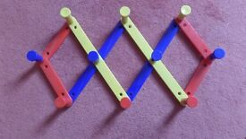 4 Sets Coloured Plastic Wall Hangers /Coat / Hooks/ with Pegs