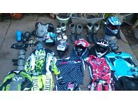 kids mx, bmx, riding kit, helmets boots etc