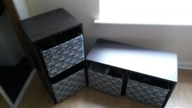 shelving units kallax black-brown 77x42 + storage box drona 25x30x30
