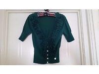 Karen Millen Green Frill Cardigan Size 10/12