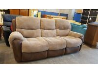 Large corduroy 3 seater recliner sofa