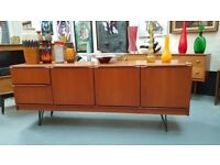 VINTAGE MID CENTURY DANISH DESIGN MORRIS GLASGOW SIDEBOARD HAIRPINS MEDIA DISPLAY STORAGE RETRO