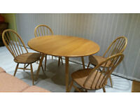 Ercol Oval Drop Leaf Dining Table and 4 Chairs **Geniune**