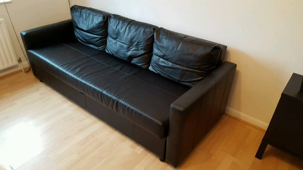 Ikea Friheten Black Sofa Bed Leather Effect