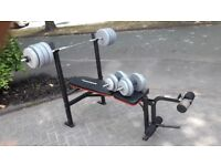 MAXIMUSCLE BENCH WITH 50KG WEIGHTS & 5.5FT BAR & DUMBBELL BARS