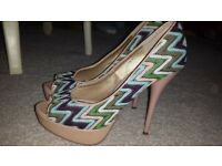 Bellissimo Size 6/39 Beige Heels with Sewn Pattern Overlay. Perfect for a Day at the Races