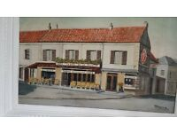 A FRENCH CAFE /STREET SCENE PAINTING BY MICHEL DUGAS EARLY 20 C