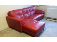 Corner Chaise Sofa in Red Leather
