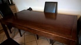 Large Wooden Dining/ Kitchen Table + 6 Black Chairs