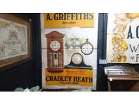 VINTAGE ORIGINAL 1930S BY PETTYS OF LEEDS RETAIL WATCH CLOCK RETAIL REPAIRERS LGE POSTER FAB DISPLAY