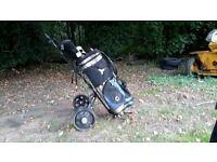 golf club set and caddy.