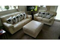 Leather 3 seater 2 seater poufee