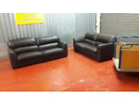 3 & 2 seater leather sofas ** £99 free delivery **