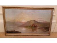 antique oil painting, scottish loch