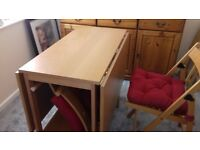 Folding dining table with 4 folding chairs