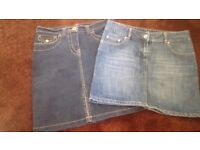 Two Womens Denim Skirts Size 10