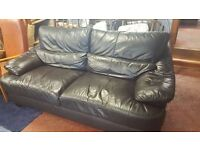 Very Dark Brown (not black) Large Leather Two-Seater Sofa in Great Condition
