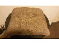 john lewis modern stylish brown shaggy brown large cushion and white cushion