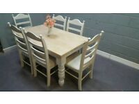 Glorious Bespoke 5ft Table and Chair Set - Grey-Cream-White