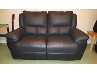 ******SOLD******Black 2 seater recliner leather sofa