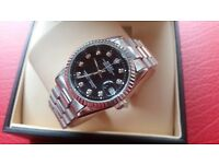 New Swiss Rolex Date Just Silver n' Black for sale! £35! £60 boxed!