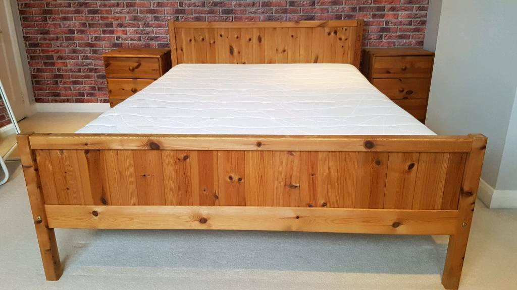 Pine double bed frame (& optional double mattress £50)