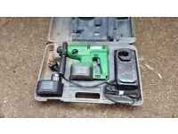 Hitachi DH20DV 24v drill with 2 batteries and charger in case for spare or repair