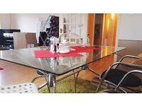 Glass Dining Table with 3 chairs