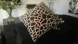 Pair of Striking Bespoke Cushion Covers in Animal Print/Sueded Fabric & Feather Filled Cushion Pads