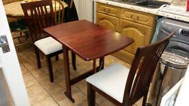 Mahogany Colour Foldable Table and 2 Chairs