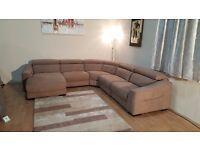 Ex-display Elixir light brown plain fabric electric/standard corner sofa