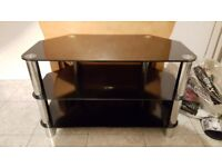 TV Television Stand Black Glass 3 Tier