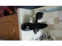 Black satin dance shoes size 7