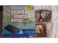 PS3 500GB 1Control pad with GTA 5 with online code still unused + 2 other games