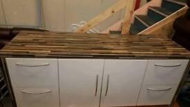High gloss cream and dark wood tv/kitcgen cabniet