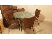 Round Glass Top Dining Table with 4 Wicker Chairs from Marks & Spencer