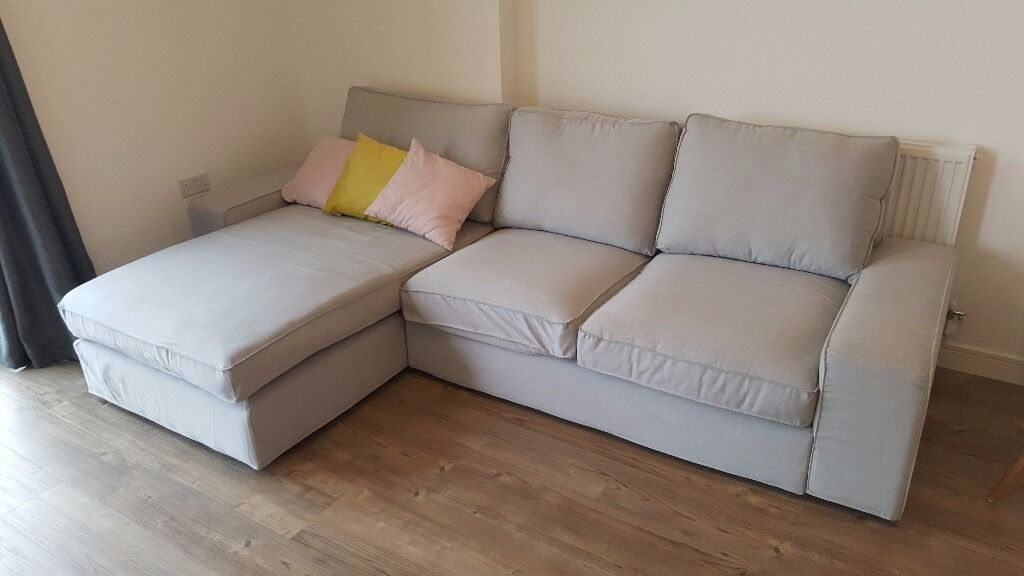 Moving Sale Ikea Kivik 2 Seat Sofa With Chaise Lounge Ramna Grey In London Gumtree