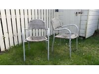FREE UPCYCLE 2 METAL FRAME WICKER BISTRO CHAIRS