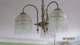 Light Fittings - Antique brass & glass chandeliers and wall lights