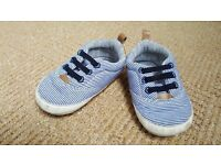 Blue and white stripped baby shoes, 9-12 months (size 3)