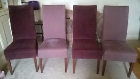 Set of 4 dining chairs purple / lilac (DFS)