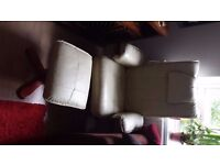 Leather arm recliner armchair with foot rest