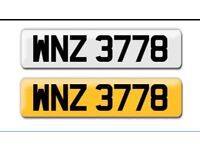 WNZ 3778 private cherished personalised personal registration plate number