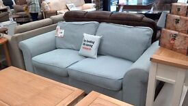 beautiful light blue sofa.