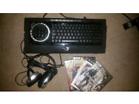 gaming keyboard, games, headphones