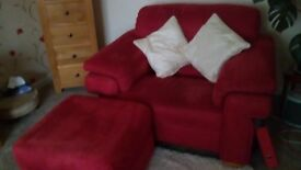 Beautiful sofa, 91ins long. Armchair and footstool. Excellent condition.